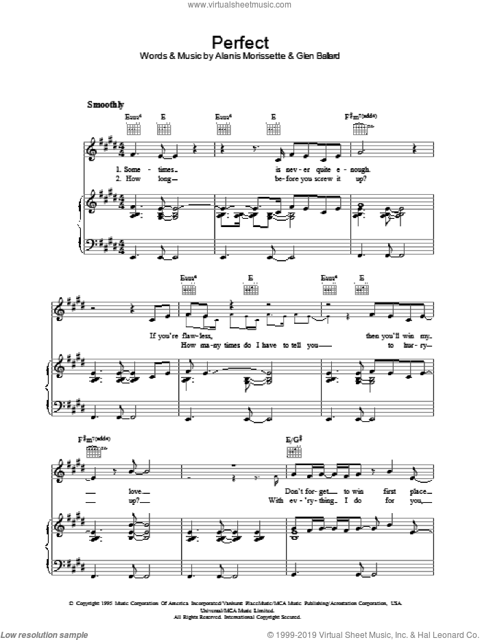 Perfect sheet music for voice, piano or guitar by Alanis Morissette and Glen Ballard, intermediate skill level
