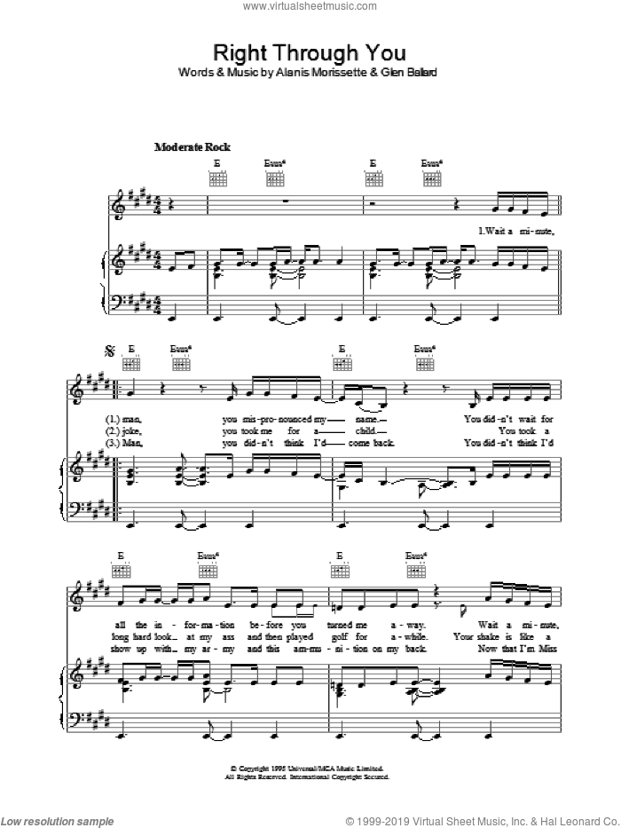 Right Through You sheet music for voice, piano or guitar by Glen Ballard and Alanis Morissette. Score Image Preview.