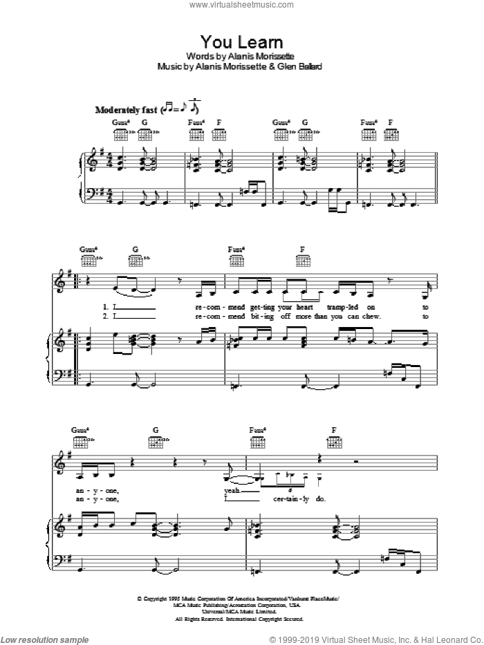 You Learn sheet music for voice, piano or guitar by Alanis Morissette and Glen Ballard, intermediate voice, piano or guitar. Score Image Preview.