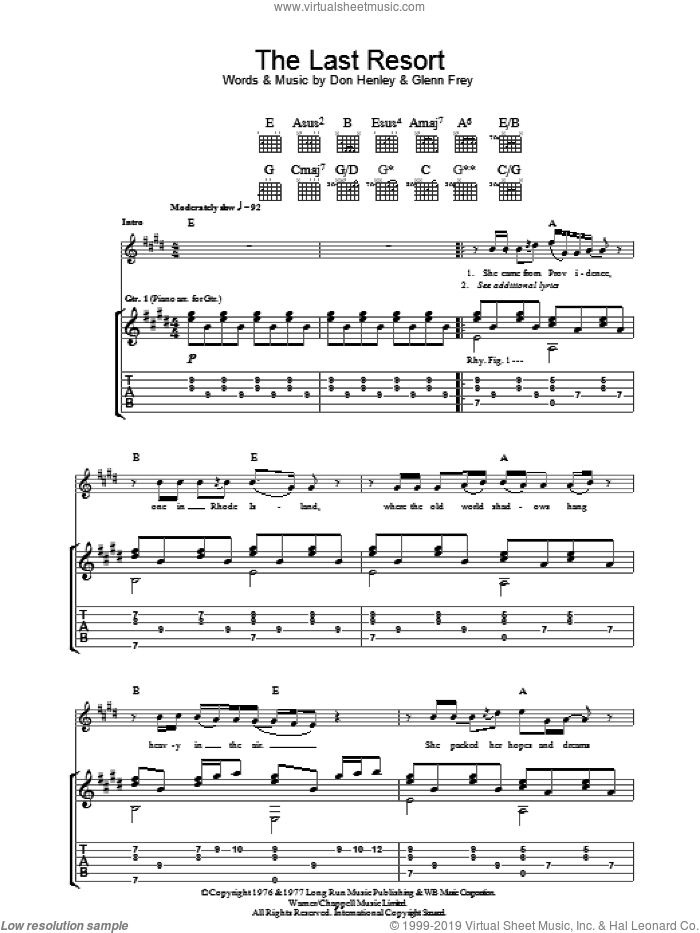 The Last Resort sheet music for guitar (tablature) by Glenn Frey, Eagles and Don Henley. Score Image Preview.
