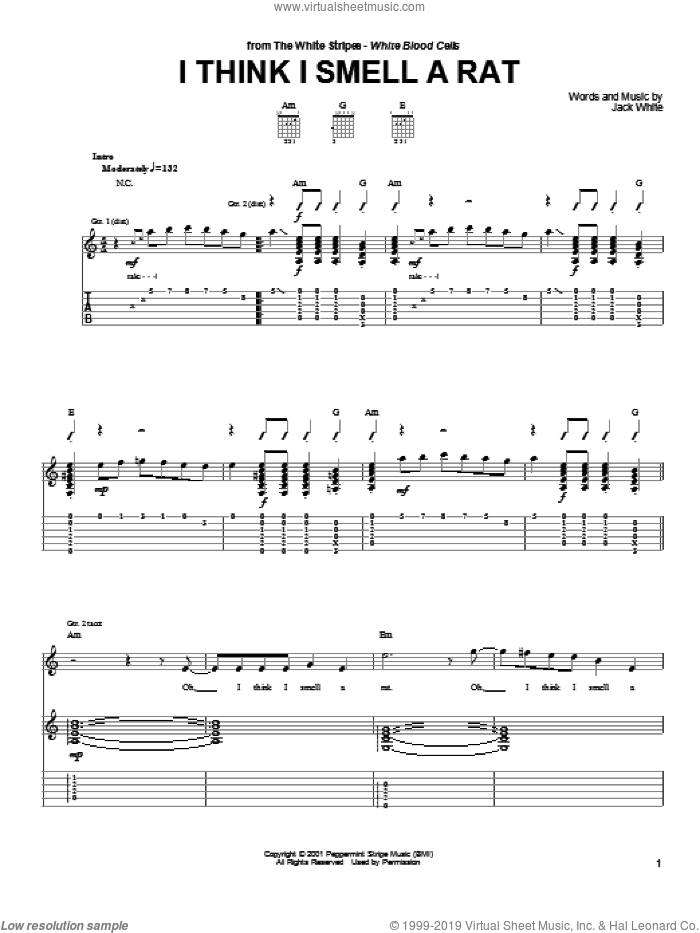 Stripes - I Think I Smell A Rat sheet music for guitar (tablature)
