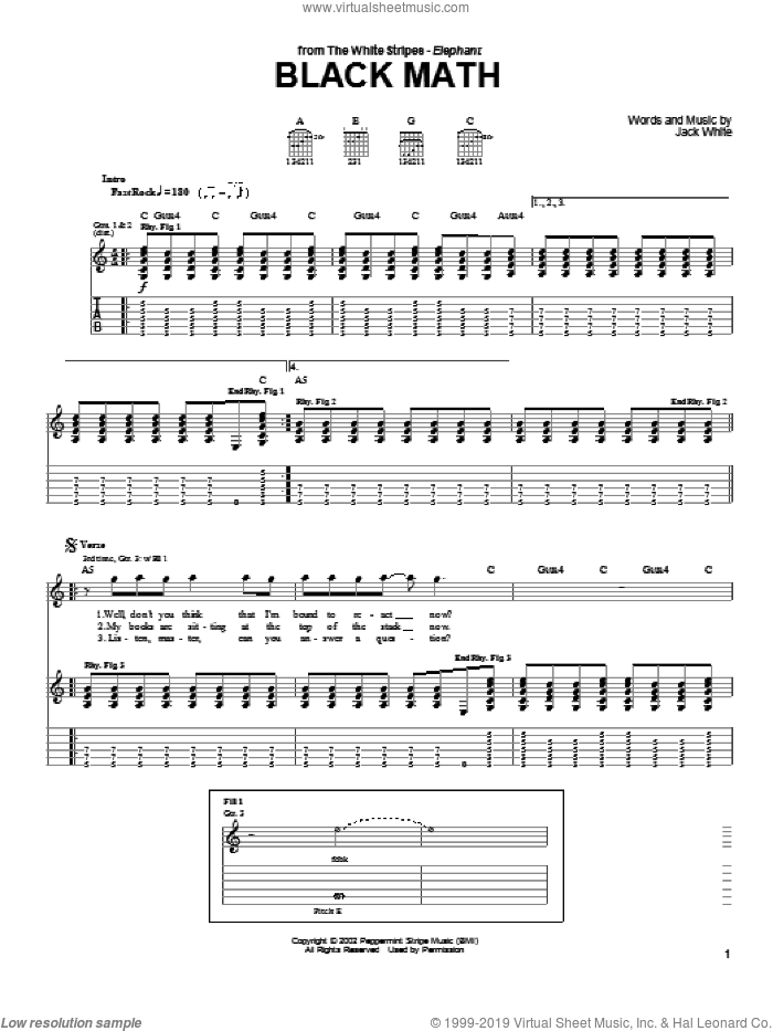 Black Math sheet music for guitar (tablature) by The White Stripes and Jack White, intermediate skill level