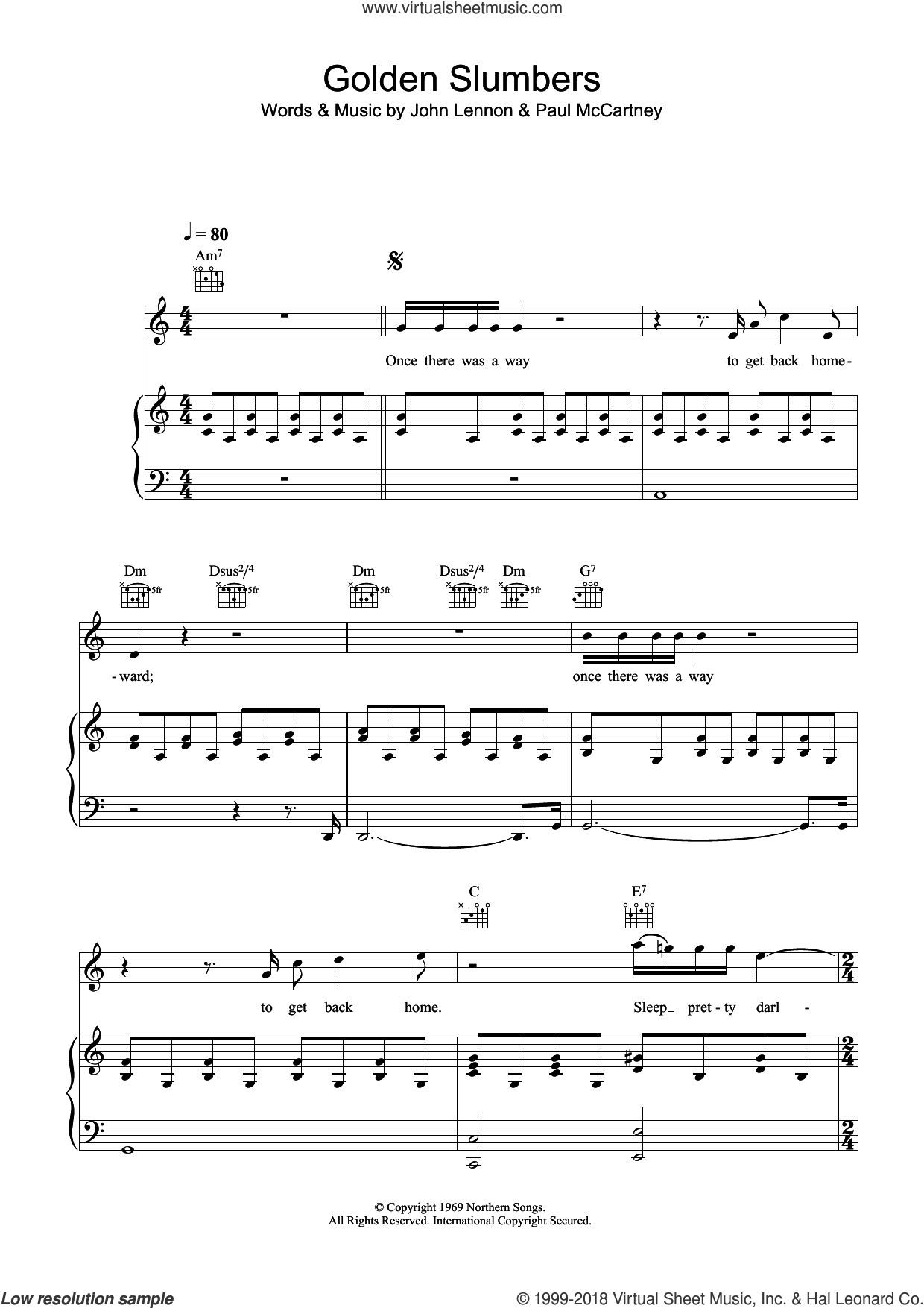 Golden Slumbers sheet music for voice, piano or guitar by Paul McCartney, The Beatles and John Lennon. Score Image Preview.