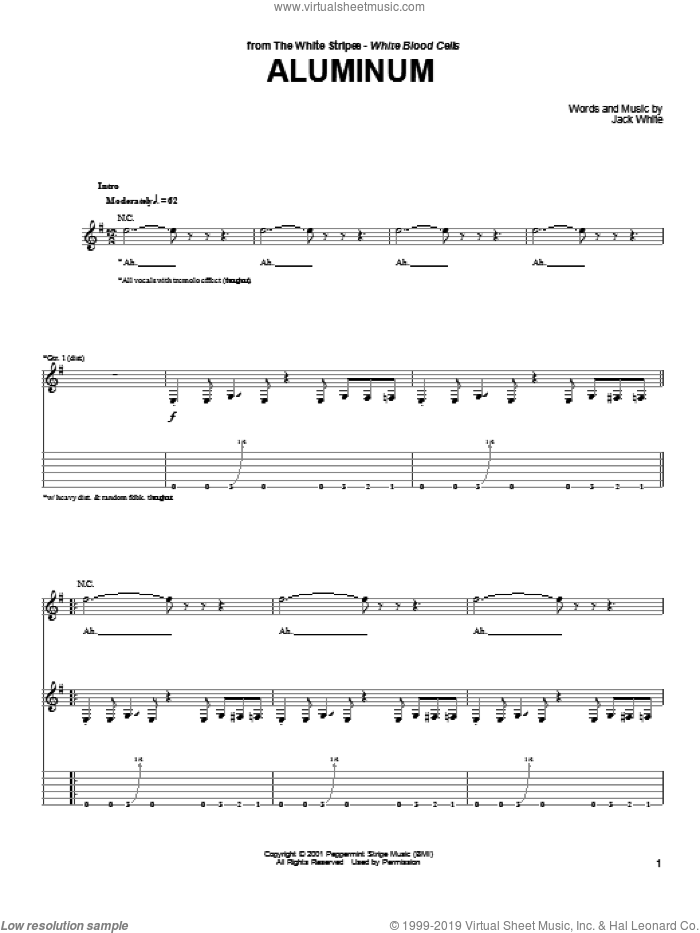 Aluminum sheet music for guitar (tablature) by The White Stripes and Jack White, intermediate skill level