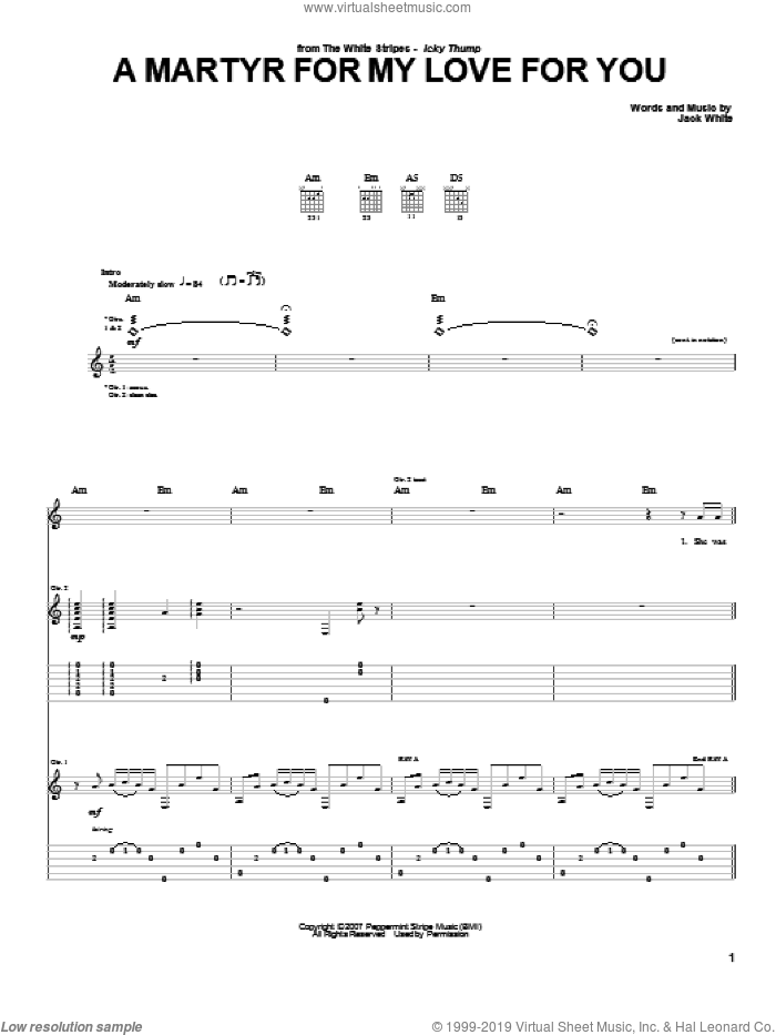 A Martyr For My Love For You sheet music for guitar (tablature) by The White Stripes and Jack White, intermediate skill level