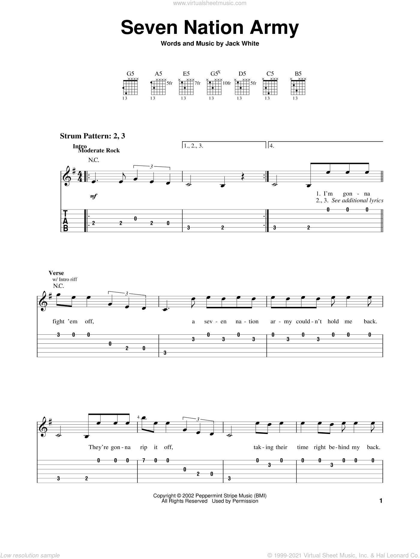 Seven Nation Army sheet music for guitar solo (easy tablature) by The White Stripes and Jack White, easy guitar (easy tablature)