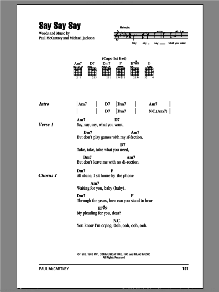 Say Say Say sheet music for guitar (chords) by Paul McCartney and Michael Jackson, intermediate. Score Image Preview.