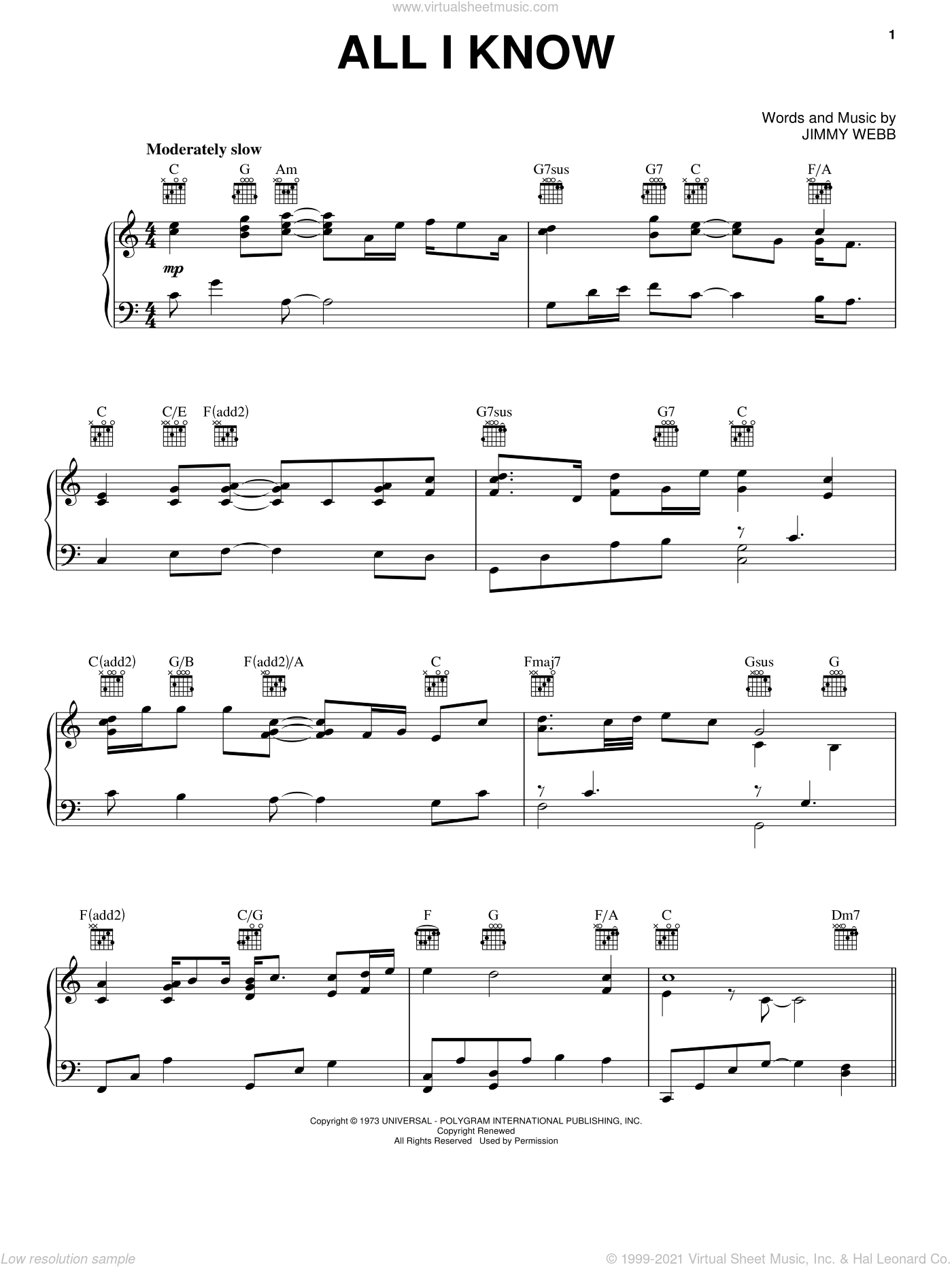 All I Know sheet music for voice, piano or guitar by Jimmy Webb. Score Image Preview.