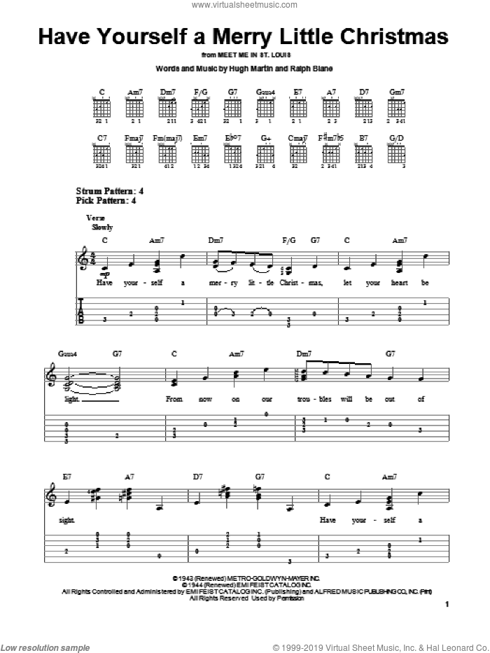 Have Yourself A Merry Little Christmas sheet music for guitar solo (easy tablature) by Hugh Martin and Ralph Blane. Score Image Preview.
