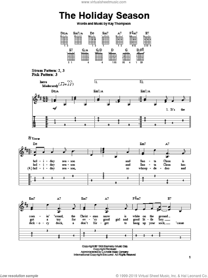 The Holiday Season sheet music for guitar solo (easy tablature) by Kay Thompson. Score Image Preview.