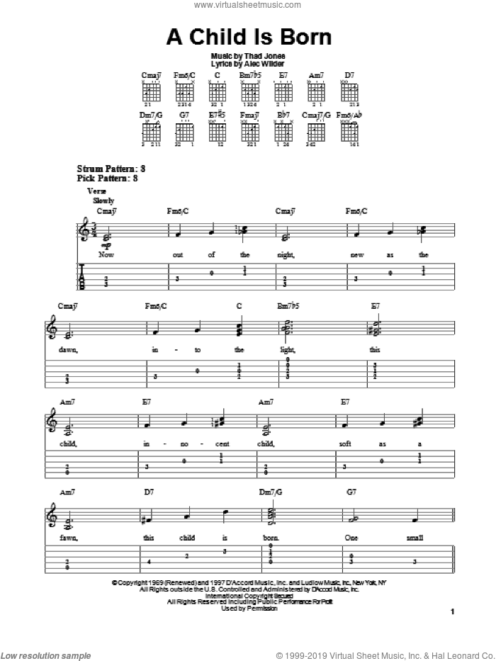A Child Is Born sheet music for guitar solo (easy tablature) by Thad Jones and Alec Wilder, easy guitar (easy tablature)