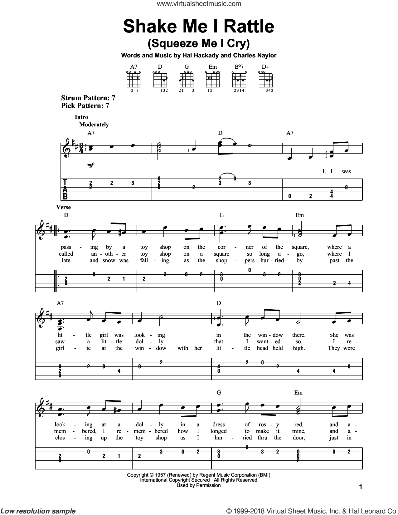 Shake Me I Rattle (Squeeze Me I Cry) sheet music for guitar solo (easy tablature) by Charles Naylor and Hal Clayton Hackady, easy guitar (easy tablature)