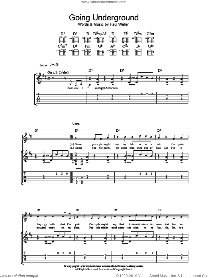 Going Underground sheet music for guitar (tablature) by The Jam and Paul Weller, intermediate