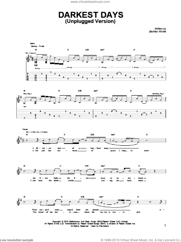 Darkest Days (Unplugged Version) sheet music for guitar (tablature) by Black Label Society and Zakk Wylde. Score Image Preview.