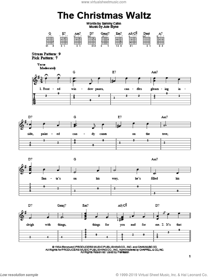 The Christmas Waltz sheet music for guitar solo (easy tablature) by Sammy Cahn and Jule Styne. Score Image Preview.