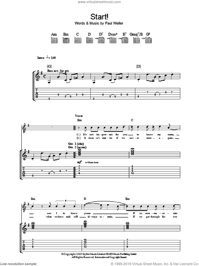 Start! sheet music for guitar (tablature) by The Jam and Paul Weller, intermediate guitar (tablature). Score Image Preview.
