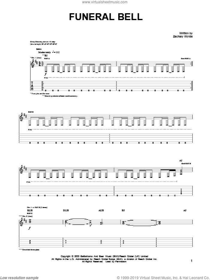 Funeral Bell sheet music for guitar (tablature) by Black Label Society and Zakk Wylde, intermediate guitar (tablature). Score Image Preview.