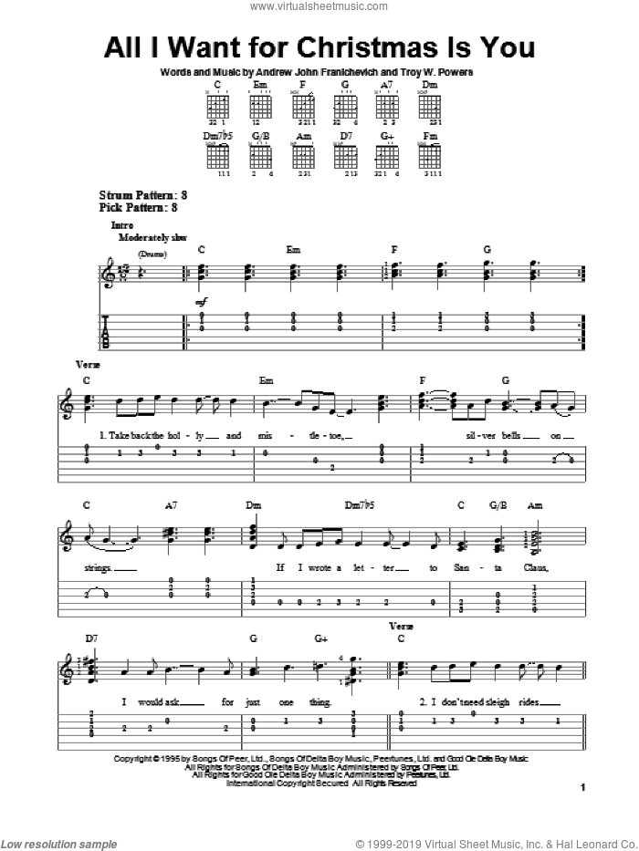 All I Want For Christmas Is You sheet music for guitar solo (easy tablature) by Andrew John Franichevich. Score Image Preview.