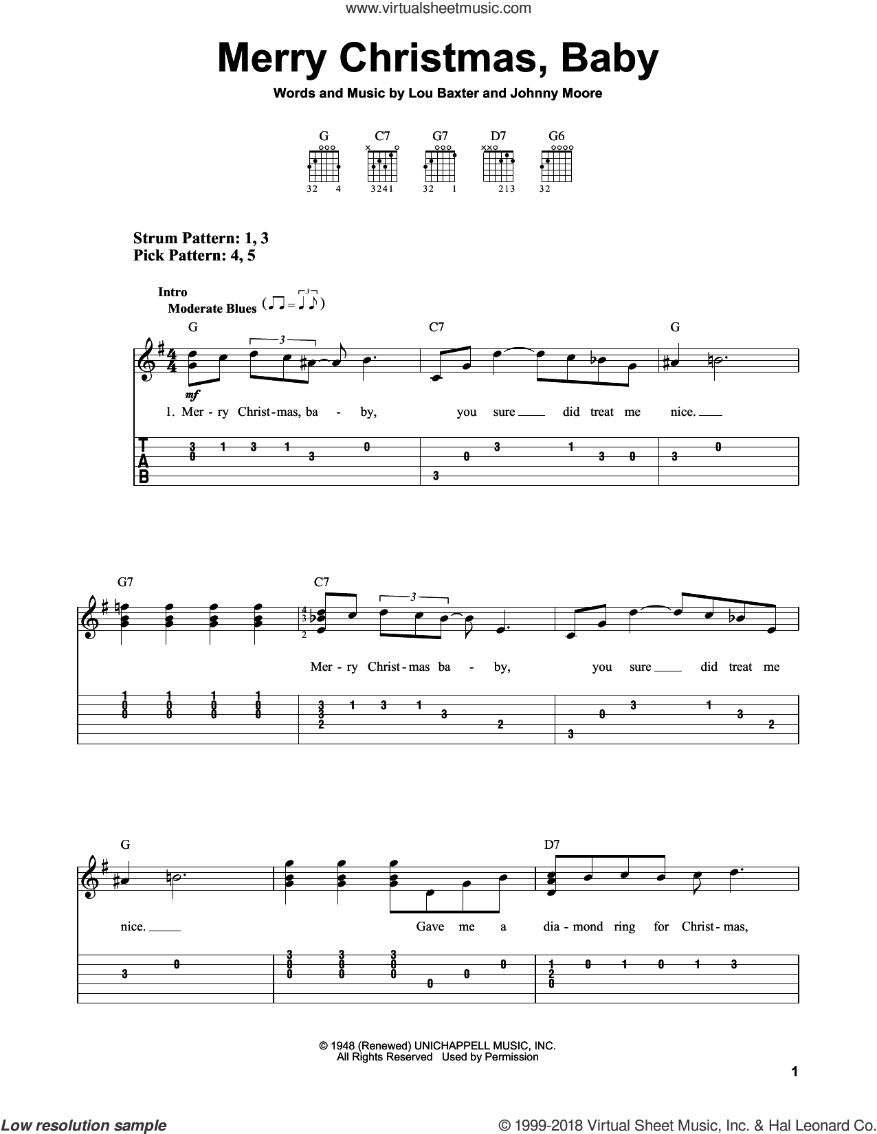 Merry Christmas, Baby sheet music for guitar solo (easy tablature) by Johnny Moore and Lou Baxter. Score Image Preview.