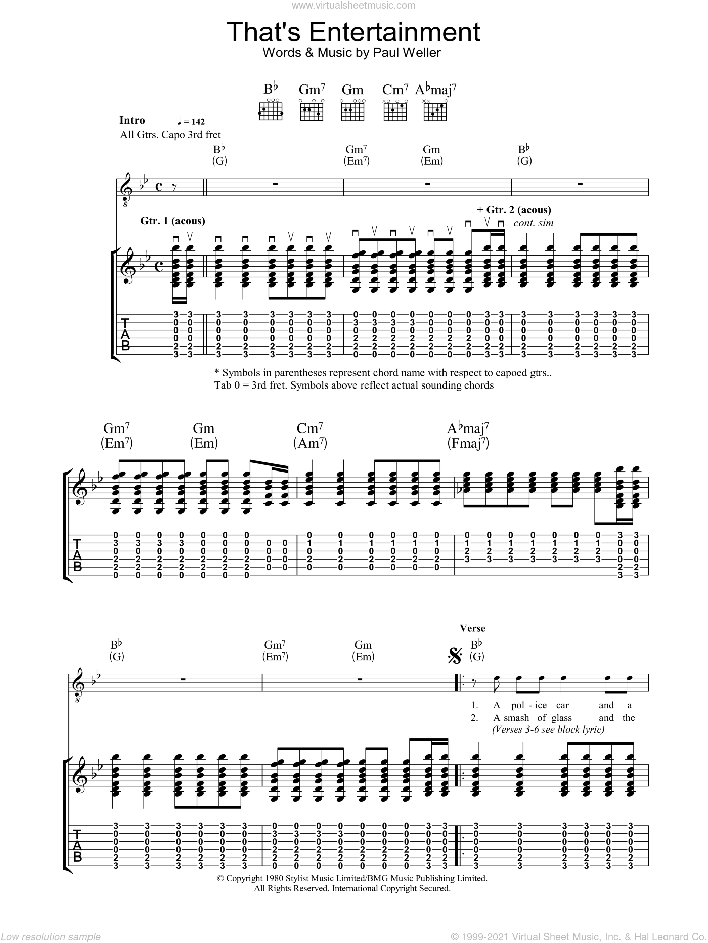That's Entertainment sheet music for guitar (tablature) by The Jam and Paul Weller. Score Image Preview.