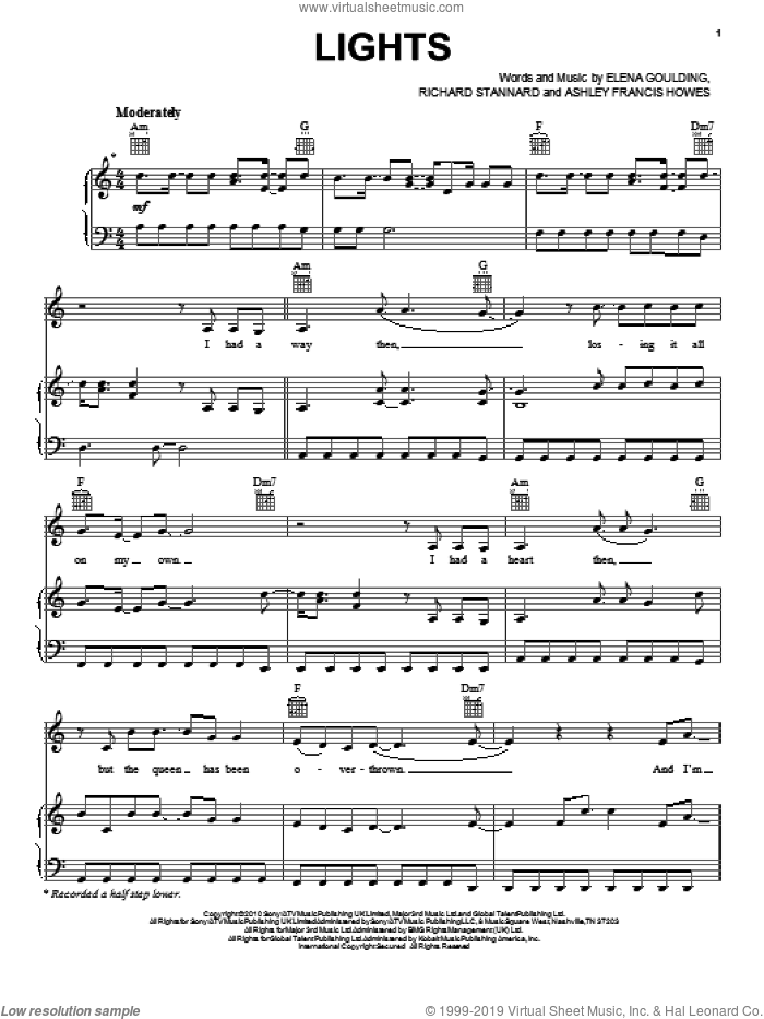 Lights sheet music for voice, piano or guitar by Richard Stannard