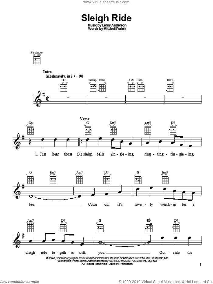Sleigh Ride sheet music for ukulele by Mitchell Parish and Leroy Anderson, intermediate skill level