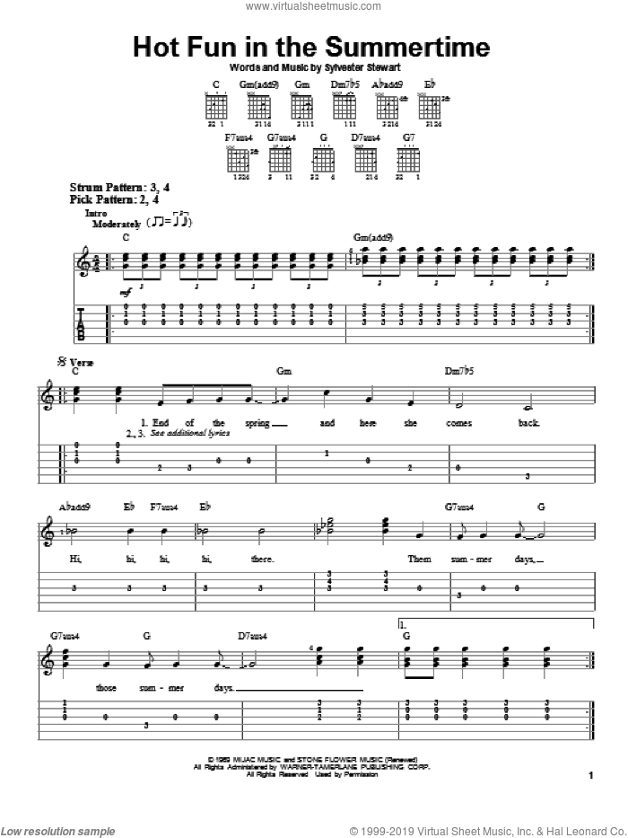 Hot Fun In The Summertime sheet music for guitar solo (easy tablature) by Sly & The Family Stone and Sylvester Stewart, easy guitar (easy tablature). Score Image Preview.