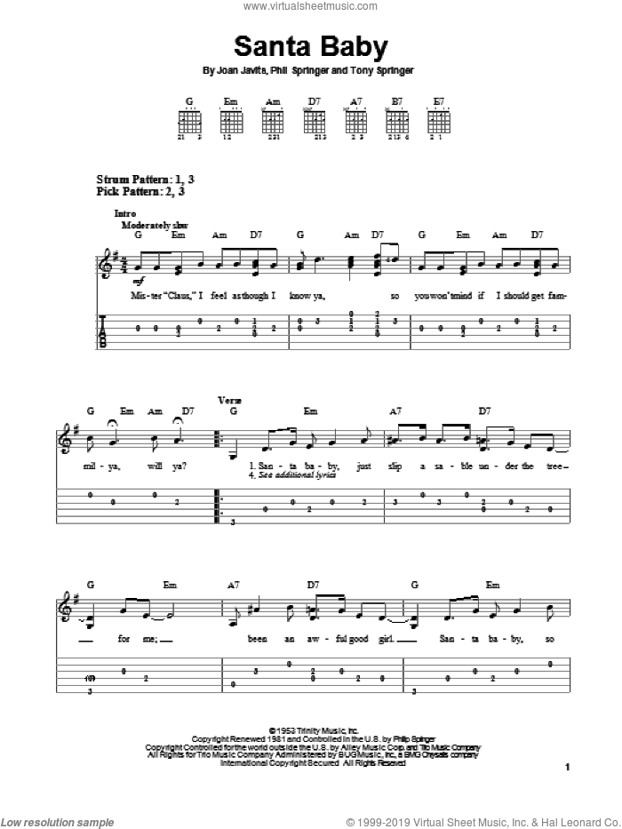 Santa Baby sheet music for guitar solo (easy tablature) by Phil Springer and Joan Javits, easy guitar (easy tablature)