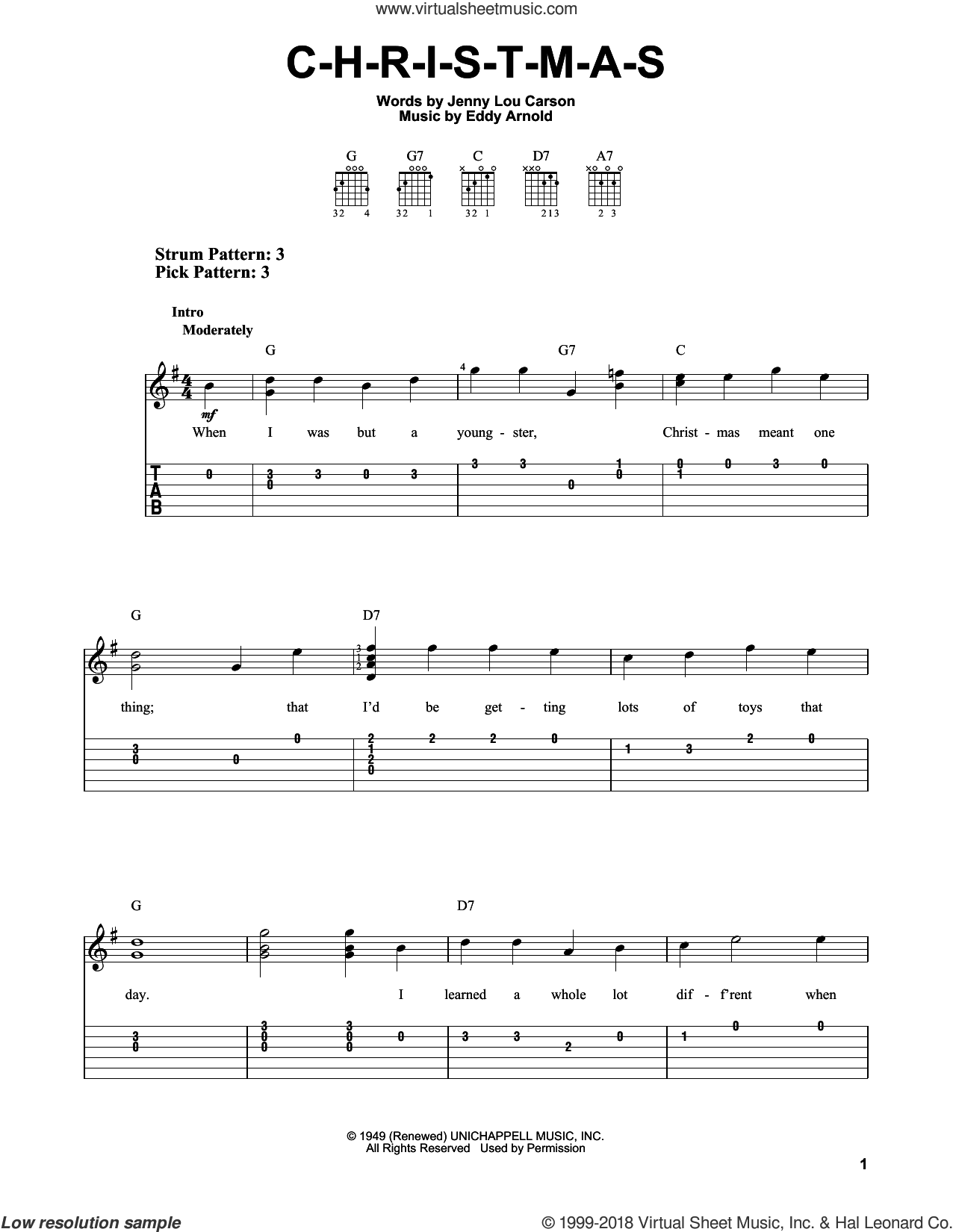 C-H-R-I-S-T-M-A-S sheet music for guitar solo (easy tablature) by Eddy Arnold and Jenny Lou Carson, easy guitar (easy tablature)