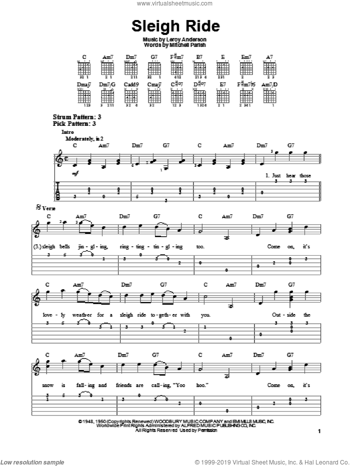 Sleigh Ride sheet music for guitar solo (easy tablature) by Leroy Anderson and Mitchell Parish