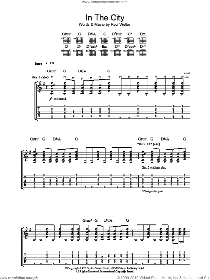 In The City sheet music for guitar (tablature) by The Jam and Paul Weller. Score Image Preview.