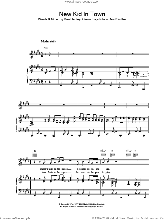 New Kid In Town sheet music for voice, piano or guitar by John David Souther, Eagles, Don Henley and Glenn Frey. Score Image Preview.