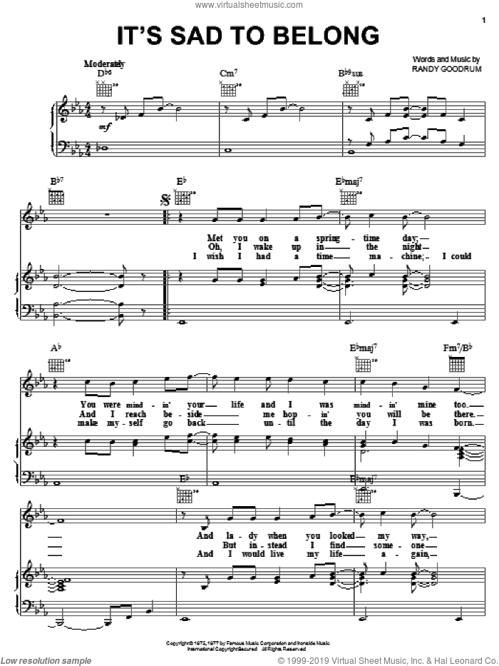 It's Sad To Belong sheet music for voice, piano or guitar by England Dan and Randy Goodrum, intermediate. Score Image Preview.