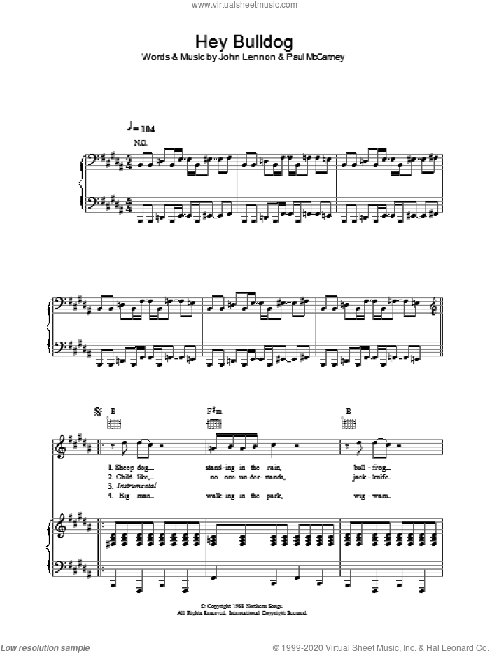 Hey Bulldog sheet music for voice, piano or guitar by Paul McCartney, The Beatles and John Lennon. Score Image Preview.