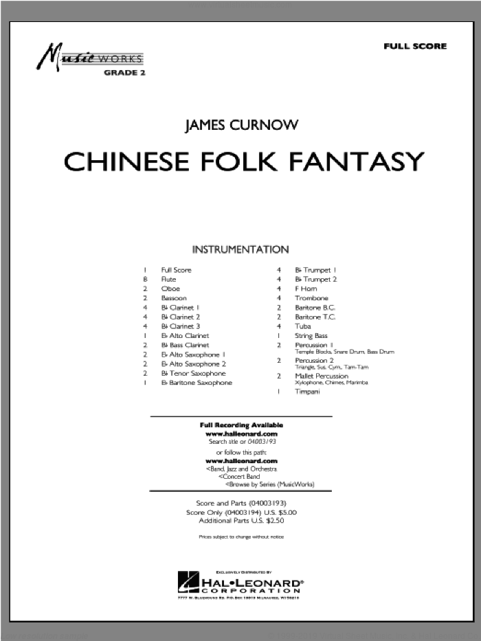 Chinese Folk Fantasy (COMPLETE) sheet music for concert band by James Curnow, intermediate concert band. Score Image Preview.