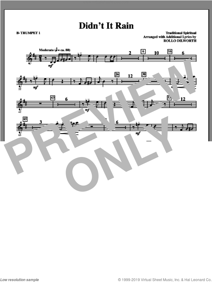 Didn't It Rain (complete set of parts) sheet music for orchestra/band (Rhythm/Trumpets) by Rollo Dilworth and Miscellaneous, intermediate orchestra/band (Rhythm/Trumpets). Score Image Preview.