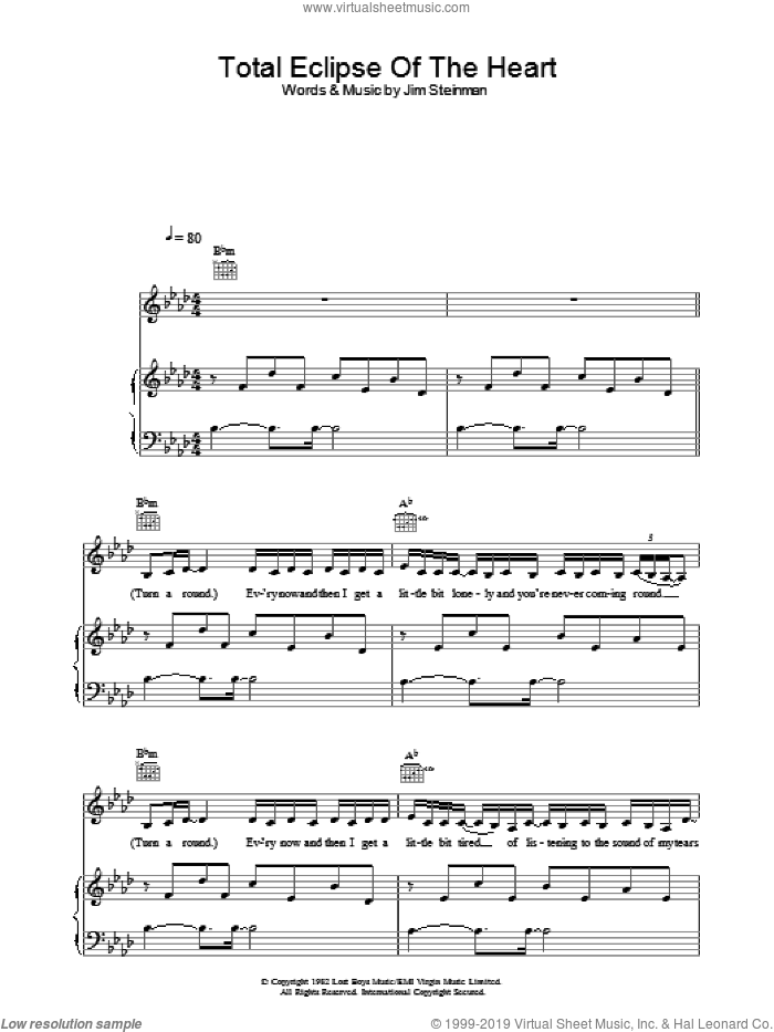 Total Eclipse Of The Heart sheet music for voice, piano or guitar by Bonnie Tyler and Jim Steinman, intermediate skill level