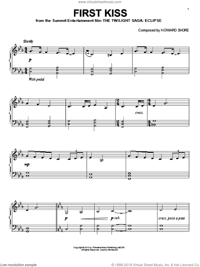 First Kiss sheet music for piano solo by Howard Shore and Twilight: Eclipse (Movie), intermediate skill level