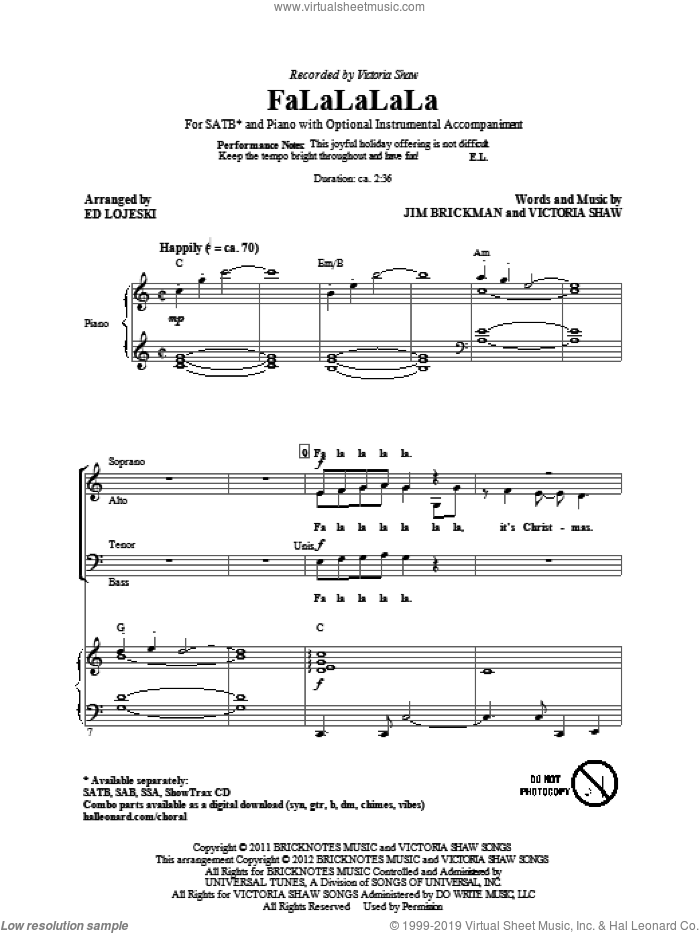 FaLaLaLaLa sheet music for choir and piano (SATB) by Jim Brickman