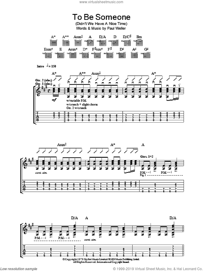 To Be Someone (Didn't We Have A Nice Time) sheet music for guitar (tablature) by The Jam and Paul Weller, intermediate