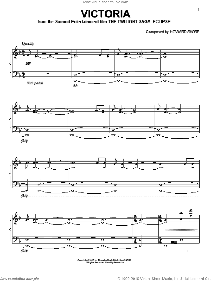 Victoria sheet music for piano solo by Howard Shore. Score Image Preview.