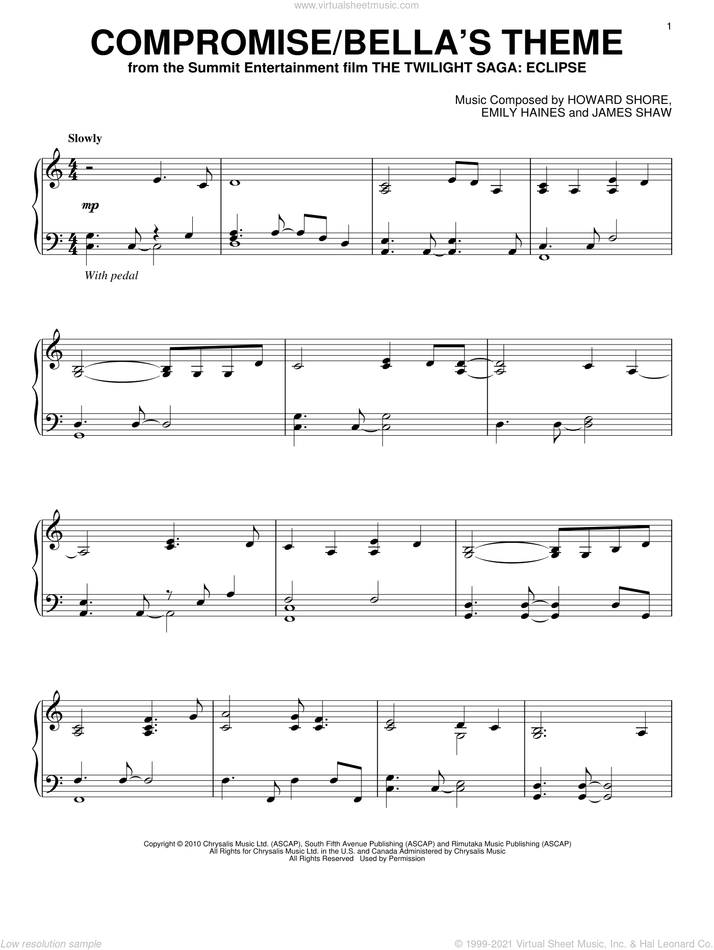 Compromise/Bella's Theme sheet music for piano solo by James Shaw, Emily Haines and Howard Shore. Score Image Preview.
