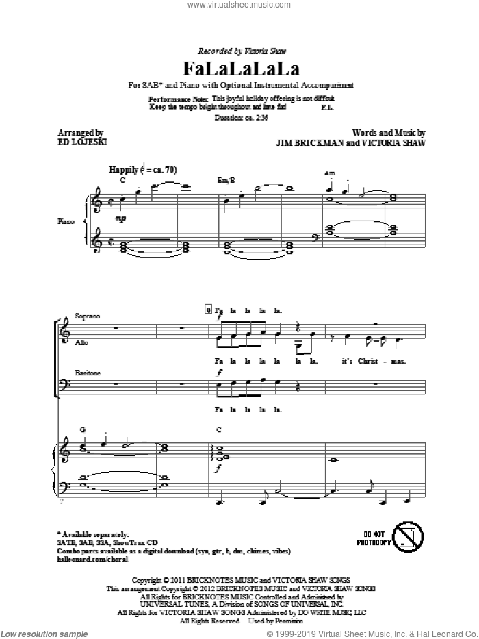 FaLaLaLaLa sheet music for choir and piano (SAB) by Jim Brickman