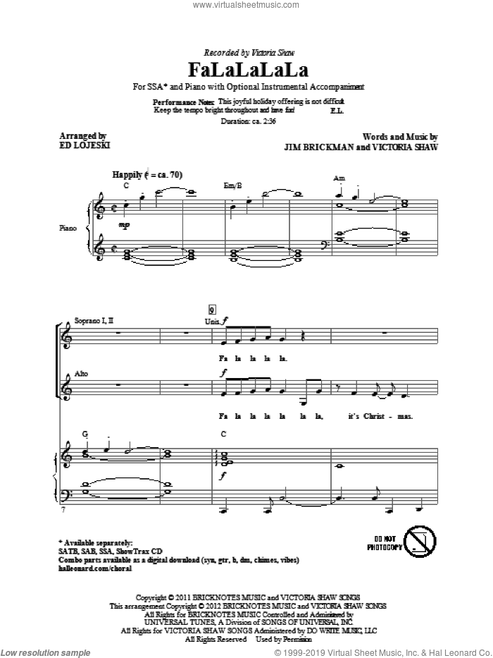 FaLaLaLaLa sheet music for choir (soprano voice, alto voice, choir) by Jim Brickman, Victoria Shaw and Ed Lojeski