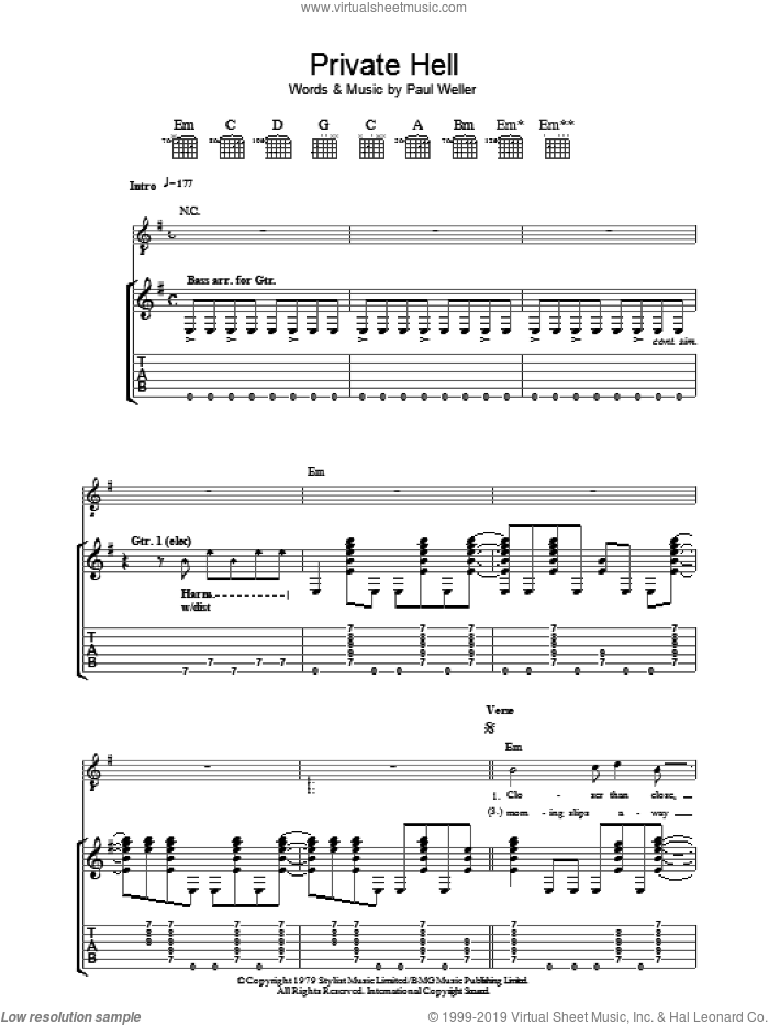 Private Hell sheet music for guitar (tablature) by Paul Weller and The Jam. Score Image Preview.