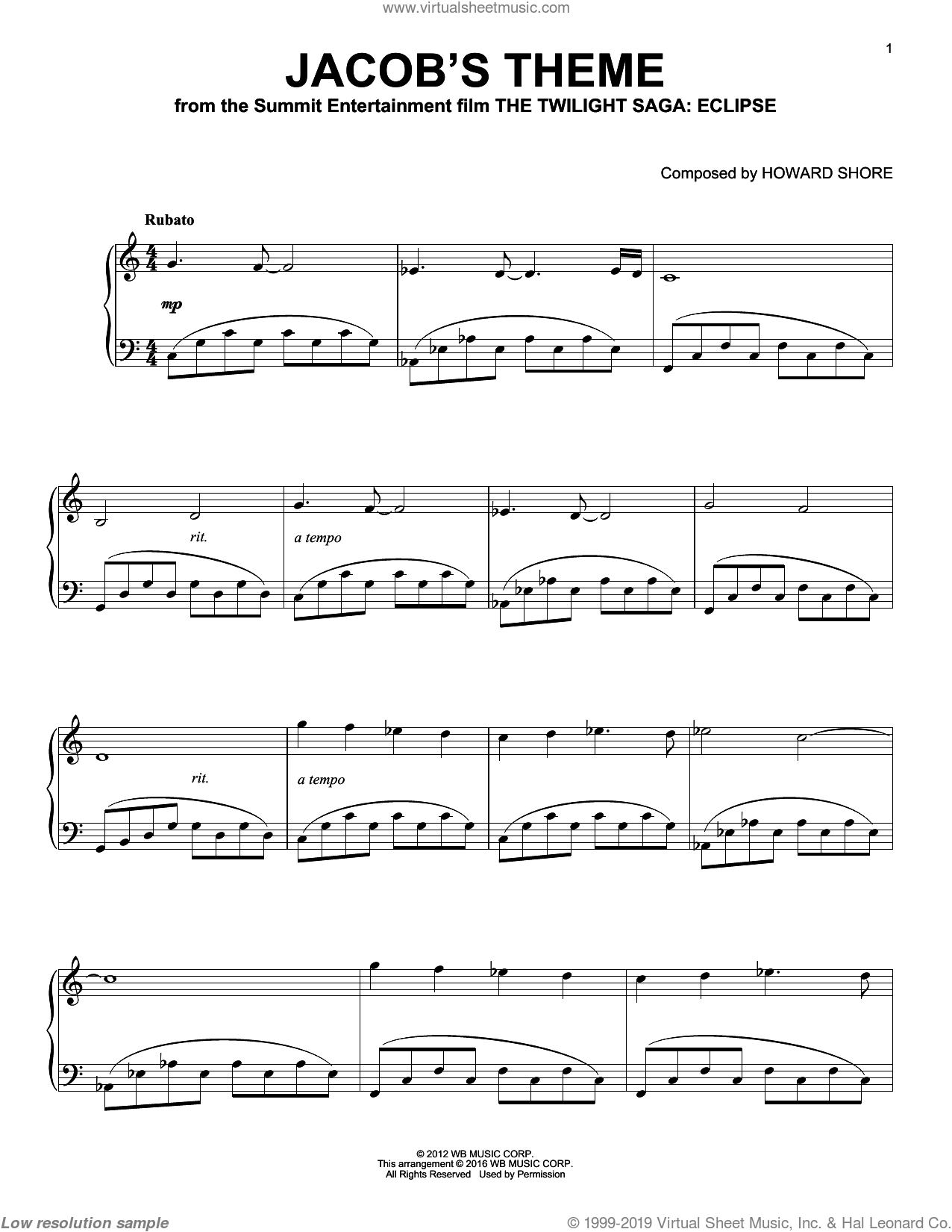 Jacob's Theme sheet music for piano solo by Howard Shore and Twilight: Eclipse (Movie), intermediate skill level