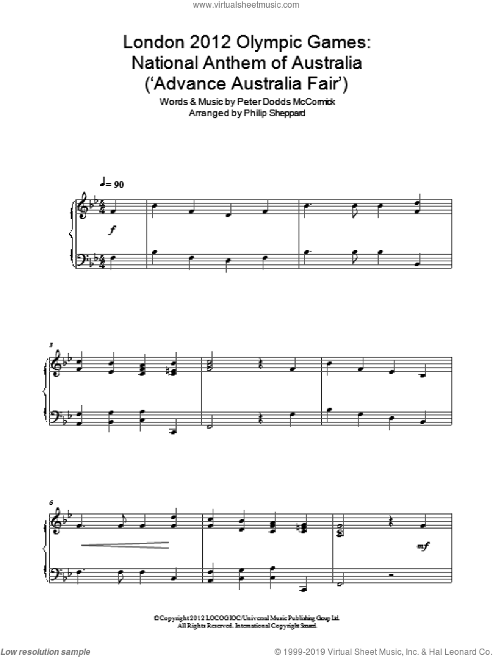 London 2012 Olympic Games: National Anthem Of Australia ('Advance Australia Fair') sheet music for piano solo by Philip Sheppard and Peter Dodds McCormick. Score Image Preview.