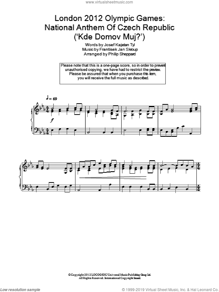 London 2012 Olympic Games: National Anthem Of Czech Republic ('Kde Domov Muj?') sheet music for piano solo by Josef Kajetan Tyl. Score Image Preview.