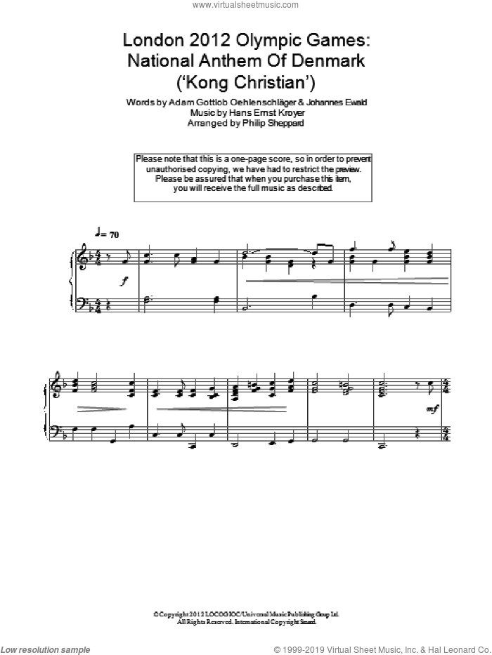 London 2012 Olympic Games: National Anthem Of Denmark ('Kong Christian') sheet music for piano solo by Johannes Ewald and Adam Gottlob Oehlenschlager. Score Image Preview.