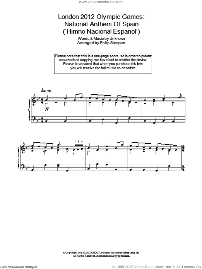 London 2012 Olympic Games: National Anthem Of Spain ('Himno Nacional Espanol') sheet music for piano solo by Anonymous. Score Image Preview.